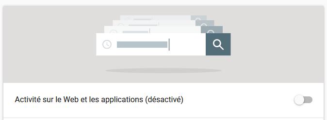 Desactiver les activités sur le web et les applications de Google