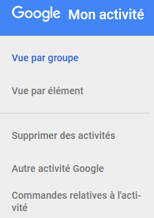 menu de commandes relatives à l'activité de Google
