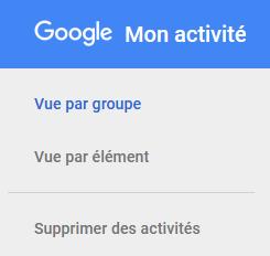menu de suppression des données de Google