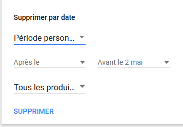 Paramètres de suppression de données de Google